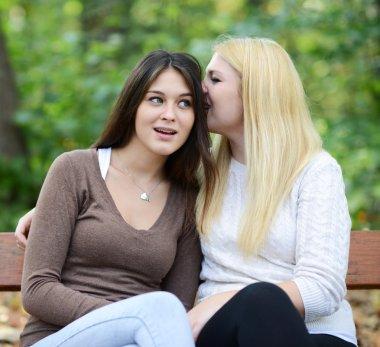 Two girl friends whispering secrets outdoors
