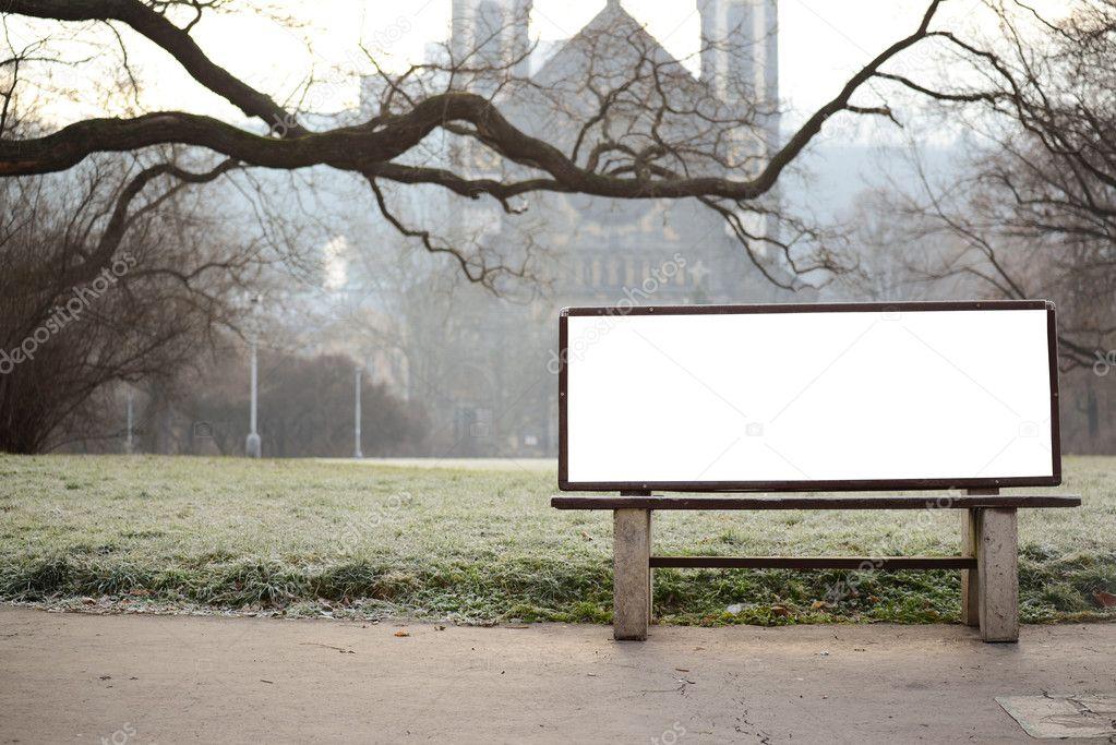 Blank Billboard On Bench At City Park Stock Photo