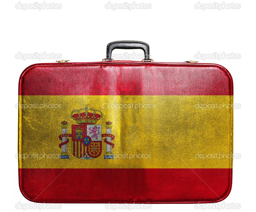 Bolsa de viaje vintage con la bandera de espa a foto de stock alexis84 39355809 - Banera de viaje ...