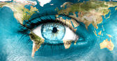Planet earth and blue human eye - Elements of this image furnis