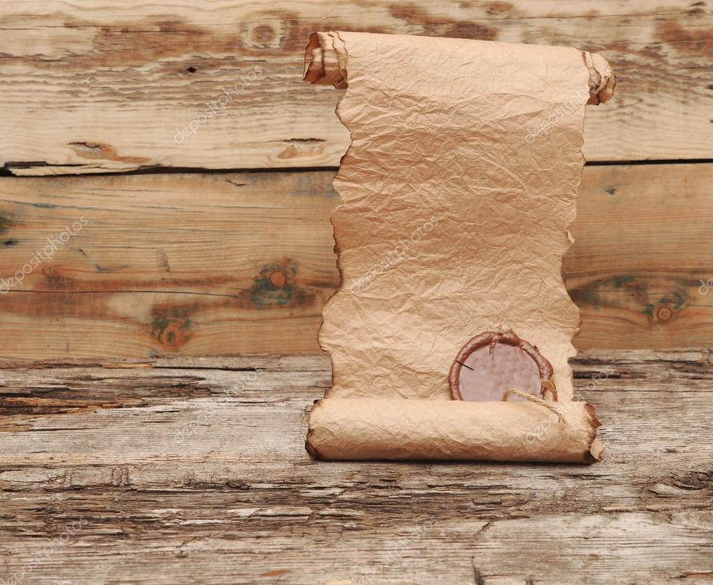 Holztisch Versiegeln uralte schriftrolle mit wachs versiegeln auf holztisch stockfoto