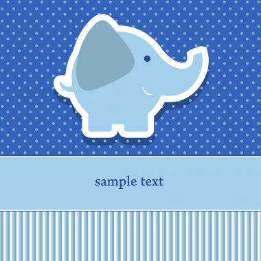 baby shower invitation template vector illustration. Cute elephant