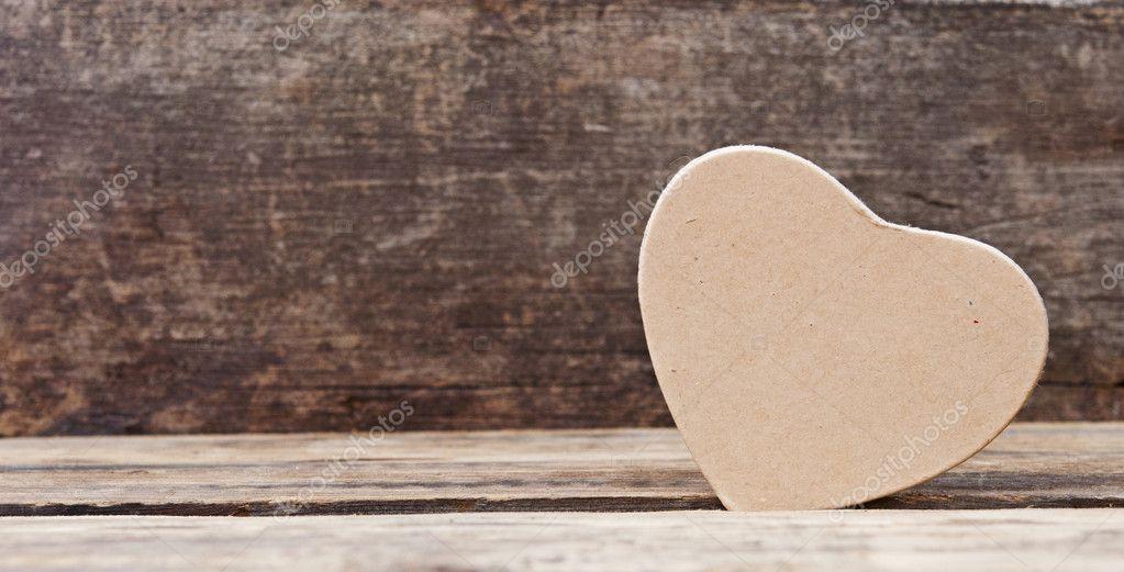 Liefde Hart Op Houten Achtergrond De Dag Van