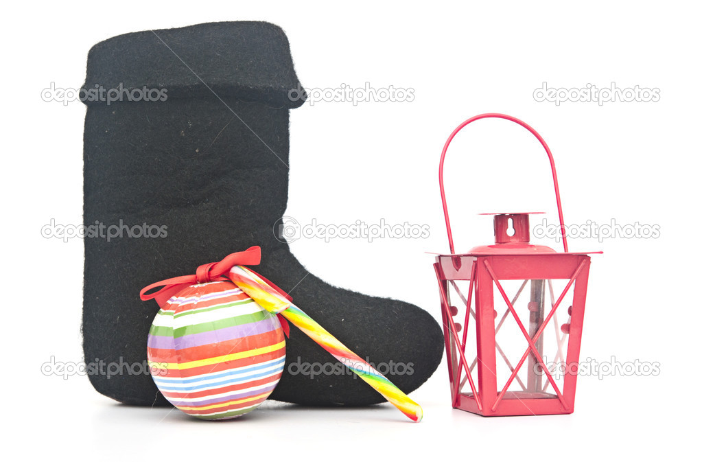 russian traditional winter felt boot valenki and christmas decor