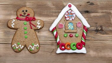 Christmas gingerbread cookies on wooden board stock vector