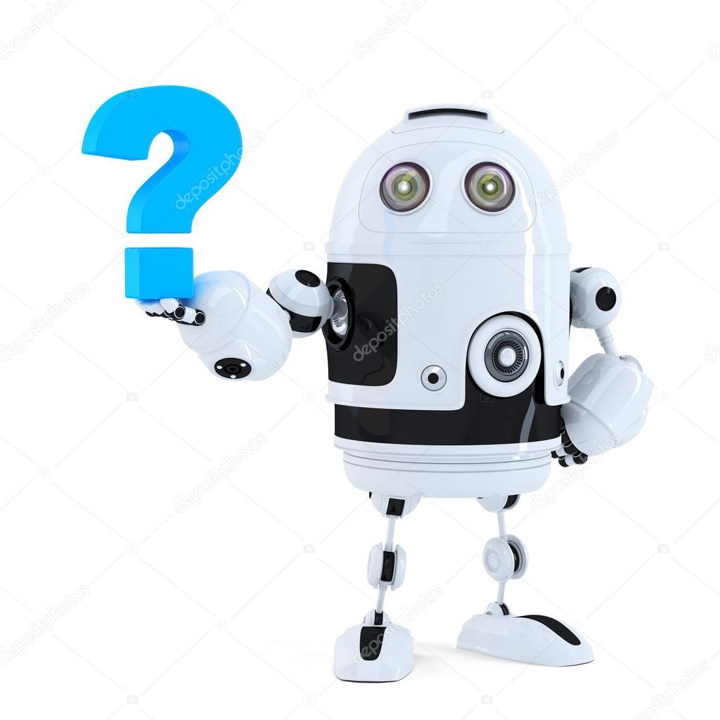 schattig 3d robot met vraagteken. geïsoleerd. bevat ...