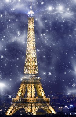 View of Eiffel Tower at night