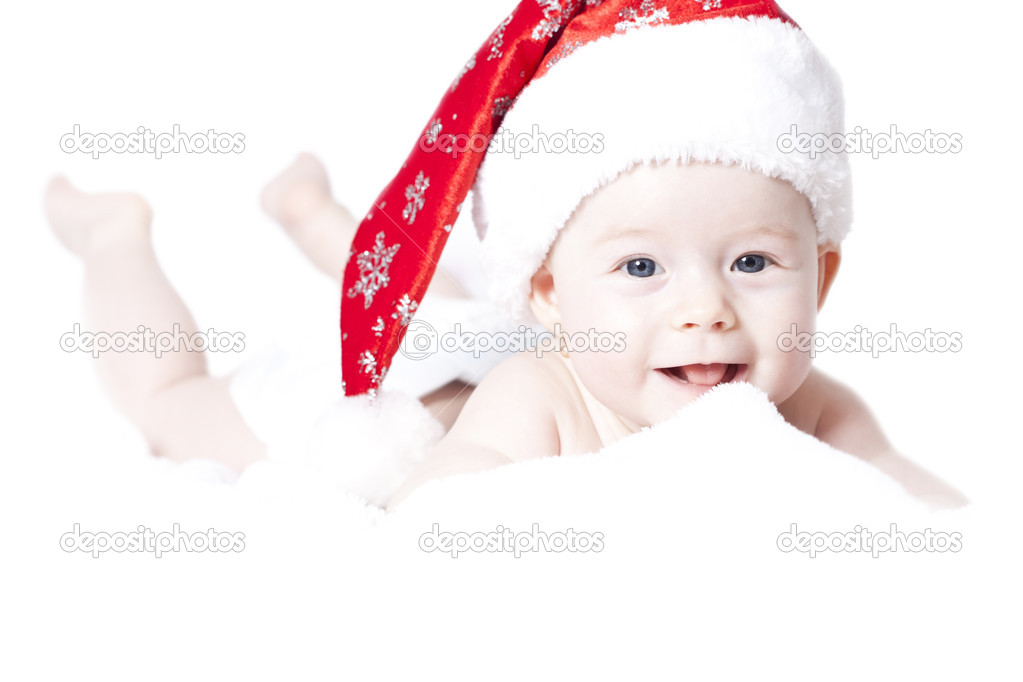 45fc55b9b19 Portrait of a baby with Santa hat isolated on white — Stock Photo ...