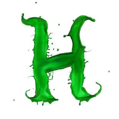 Green Liquid alphabet letter H