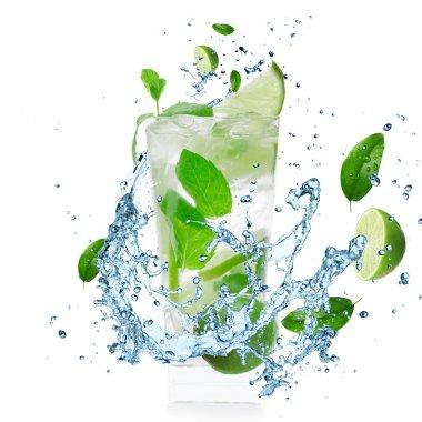 Mojito Cocktail with splashing liquid