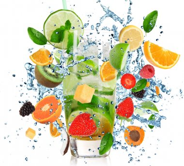 Fruit Cocktail with splashing liquid isolated on white stock vector