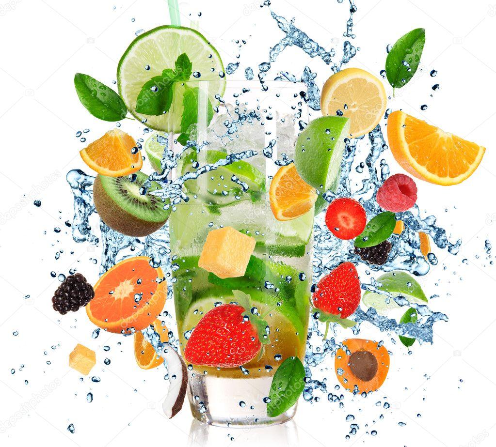 Fruit Cocktail with splashing liquid