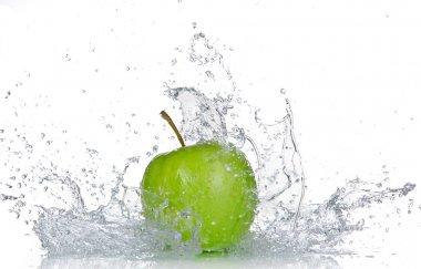 Apple with water splash