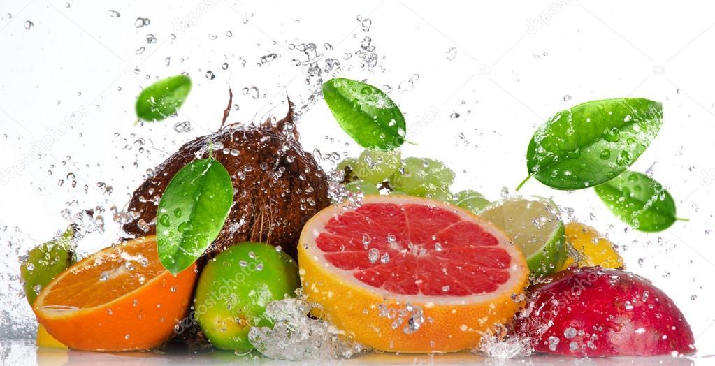 Fresh fruits with water splash