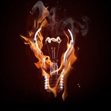 light bulb in fire