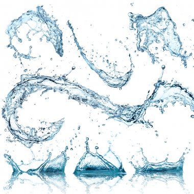 Water splashes collection over white background stock vector