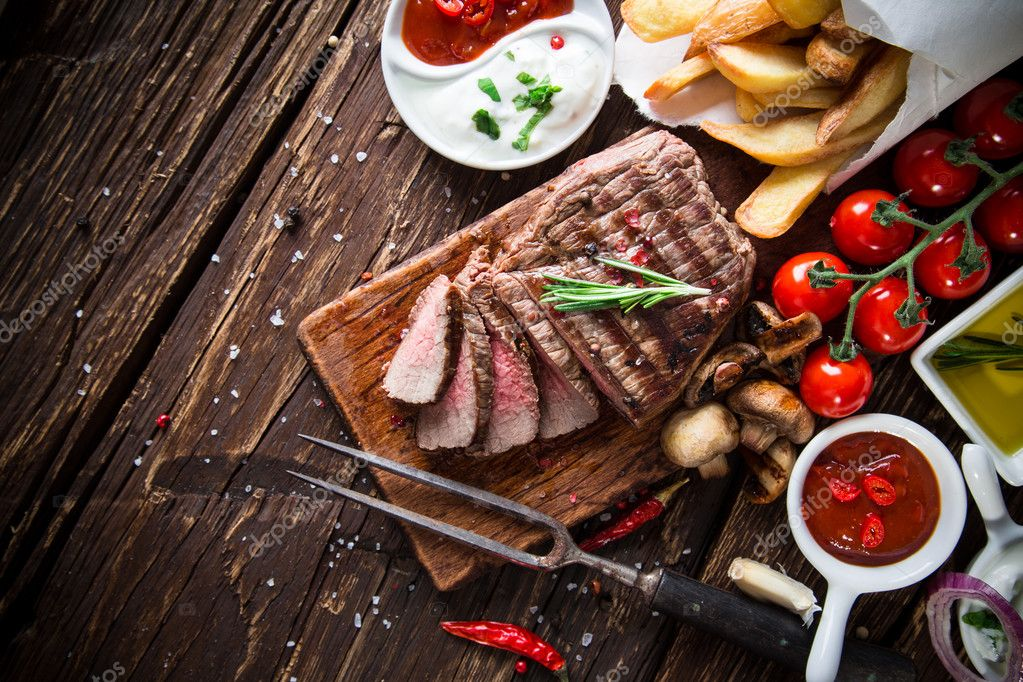 Tasty beef steak with vegetable side-dish