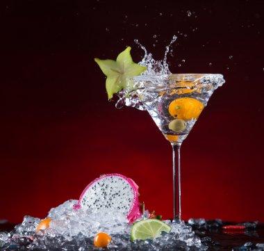 Fresh fruit cocktail with liquid splash