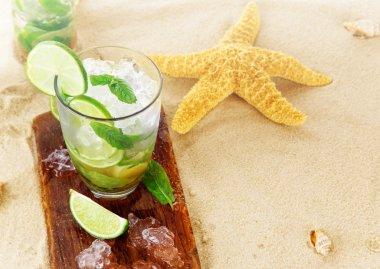 Fresh mojito cocktails on beach