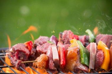 Tasty skewers on garden grill