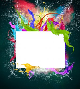 Blank paper with colorful splashes
