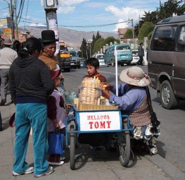 Ice cream seller in a street of La Paz, Bolivia