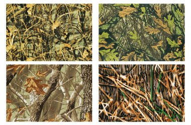 High definition four camouflage fabric stock vector