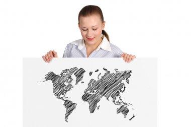 billboard with world map