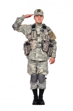 U.S. soldier salutes