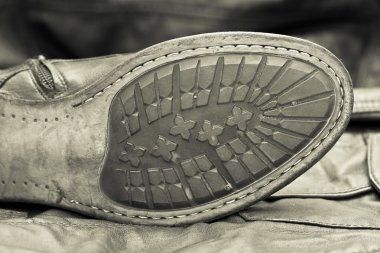 Male shoe sole. Handmade shoes. Vintage style. Cowboy style
