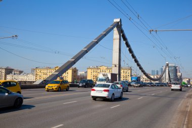 Movement of vehicles on the Crimean bridge. Moscow, Russia