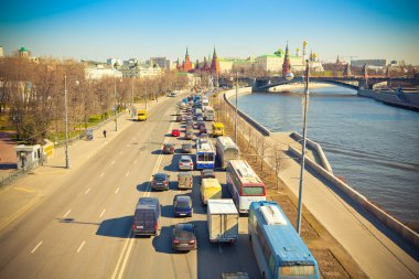 Moscow, Russia, Kremlin Embankment and Big Stone Bridge. Traffic jams in the direction of the city center.