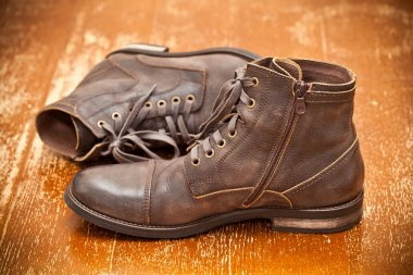 Leather shoes brown. Fashionable leather high boots. autumn - spring shoes. Vintage style