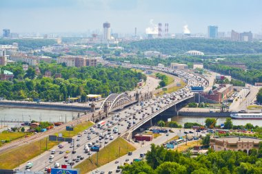 Moscow - city landscape, the Third Ring Road. Life of the big city.