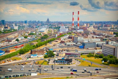 City of Moscow. Industrial zone, railroad.