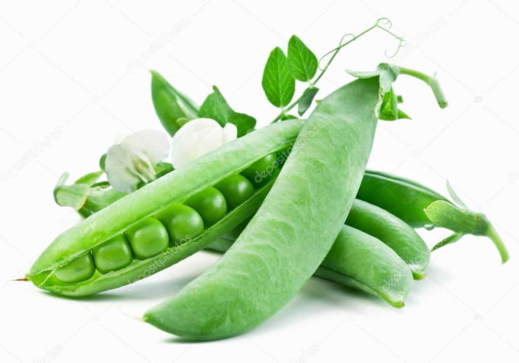 Pods of green peas with leaves