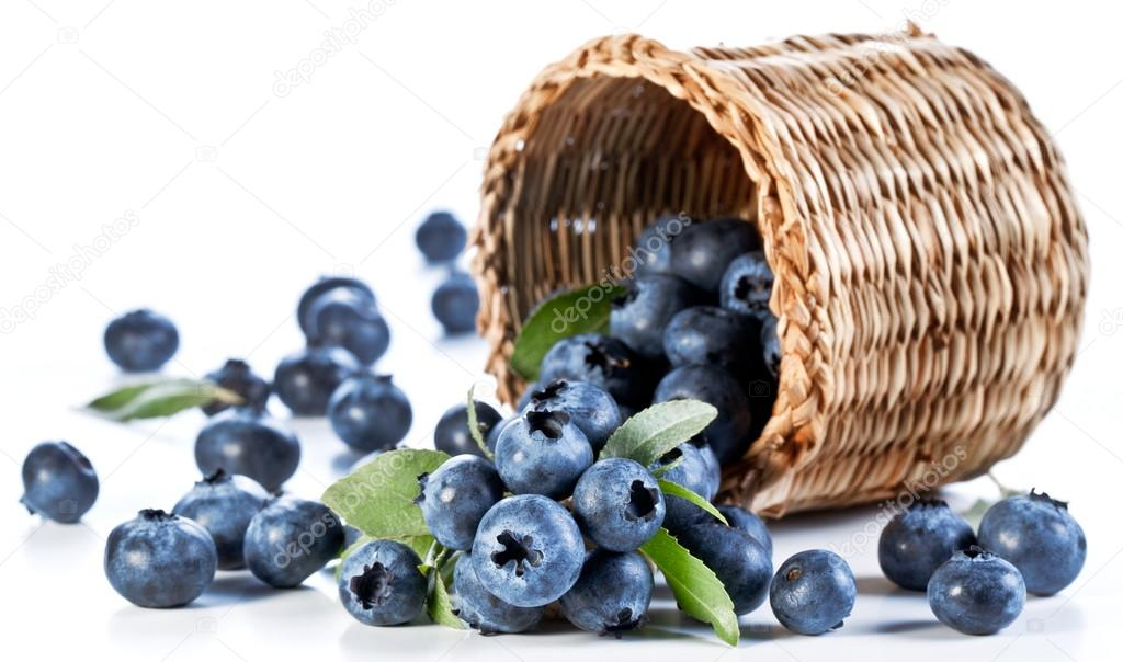 Blueberries fall of the basket.