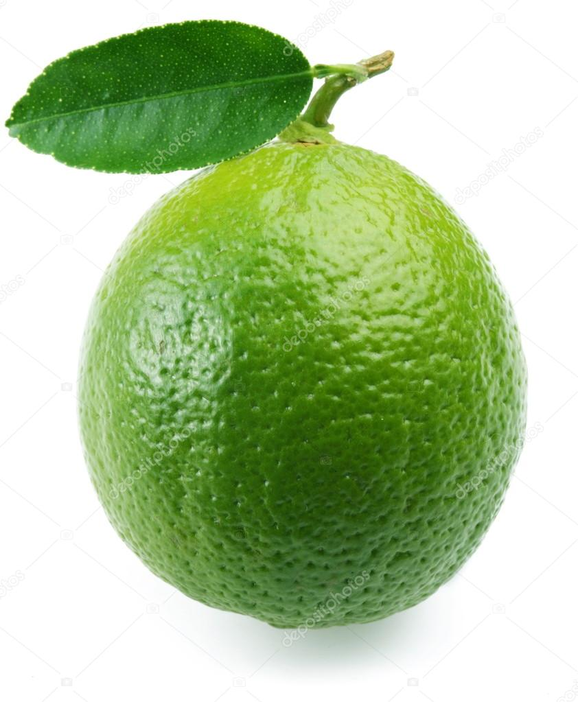 Lime with leaf.