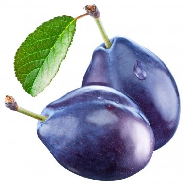 Two plums with a leaf