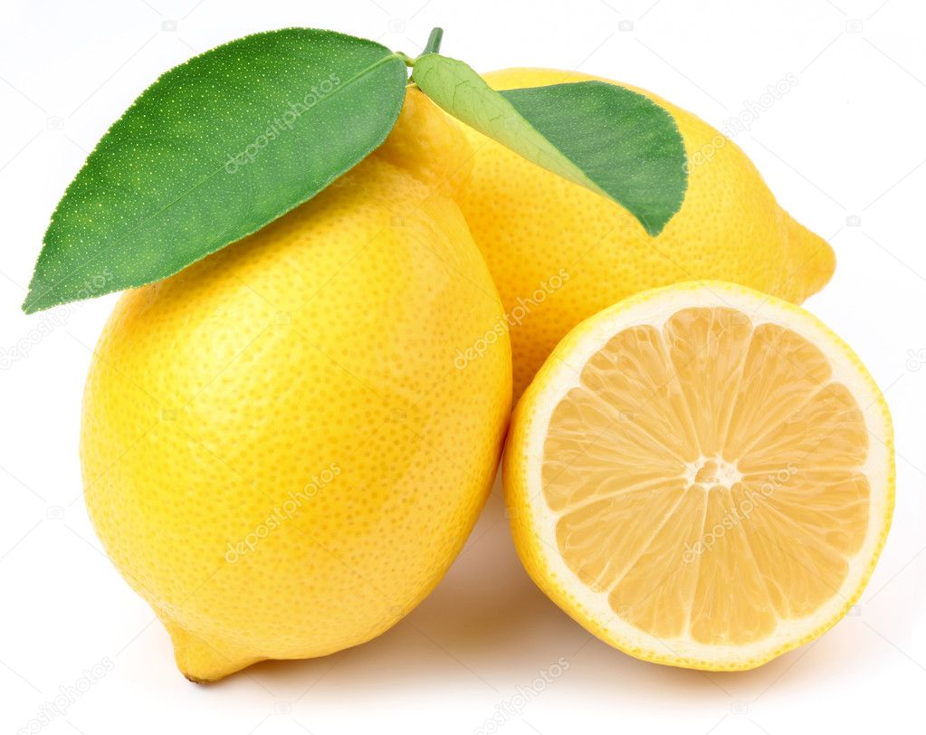 Lemons with leaves.