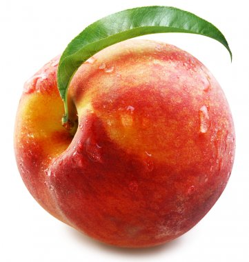 Peach with leaf isolated.