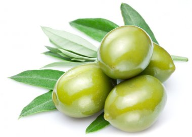 Green olives with leaves isolated on a white. stock vector