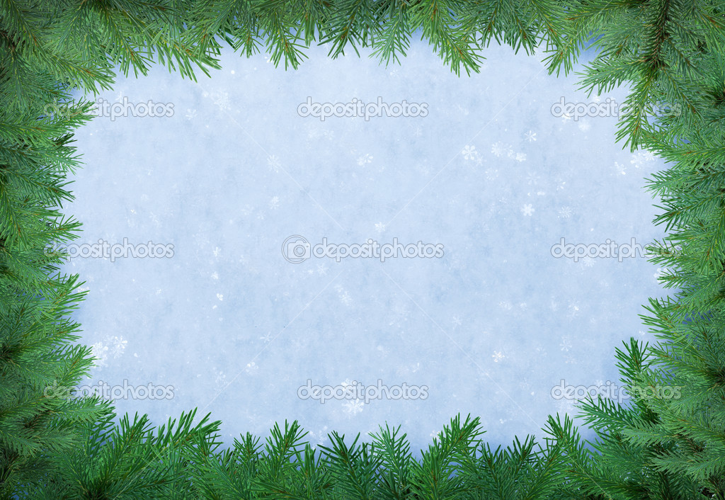 Christmas frame of fir over natural snow.