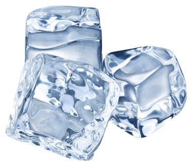 Three ice cubes on white background.