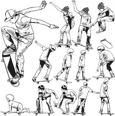 Line drawing skateboarding illustrations stock vector