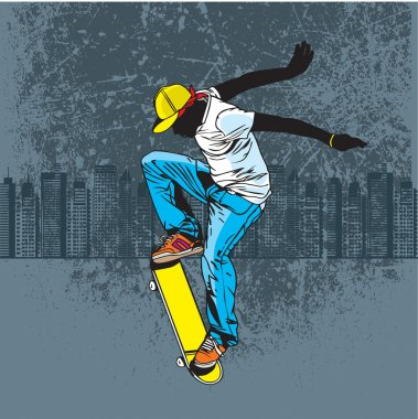 A teenager playing skateboard on street stock vector
