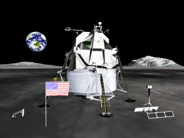 Lunar Module Computer generated 3D illustration