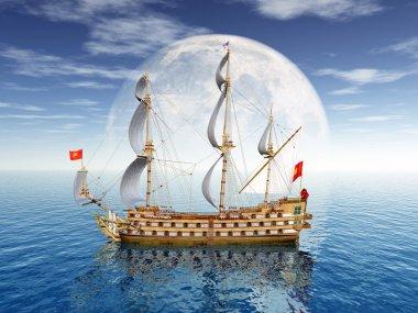 Sailing Ship with Moon
