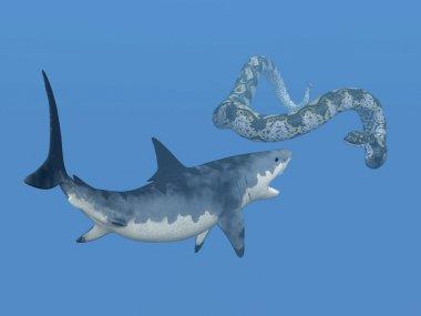 Great White Shark and Titanoboa