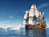 Fotografie White Whale and Sailing Ship